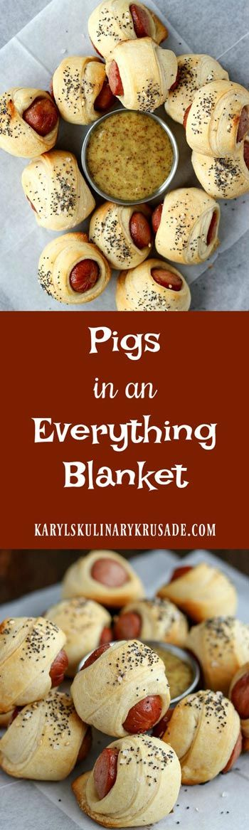 Pigs In An Everything Blanket | recipes | recipe | appetizers | apps | party food | parties | for a crowd | finger food | snacks | tailgate | game day | super bowl |  ideas | entertaining | low ingredient | easy | the easiest | quick | simple | make ahead |