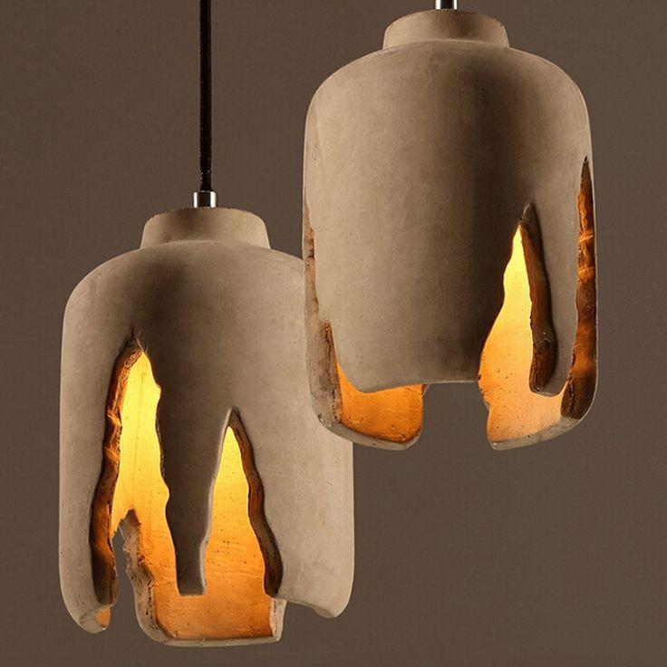 159.99$  Buy here  - Novelty Modern Minimalism Rough Concrete E27 Bulb Pendant Light Irregular Cement Staircase Restaurant Cafe Suspension Lamp PL671