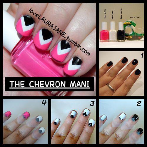 tape: Hairnailsand Makeup, Nails Design, Hair Makeup Nails, Hair Nails Makeup, Hair Nails And Makeup, Chevron Manicures, Tape Nails, Chevron Tape, Chevron Nails