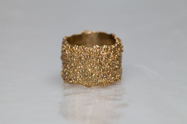 Bold ring, big golden brass band, Organic ring, textured ring, Italian jewellery by NyamiJewelry on Etsy