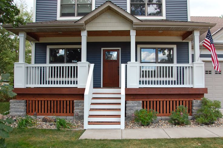 Tight railings made into a semi-modern design. For possible use for the front yard fence and stair railings.   White picket front porch stair railing - Google Search