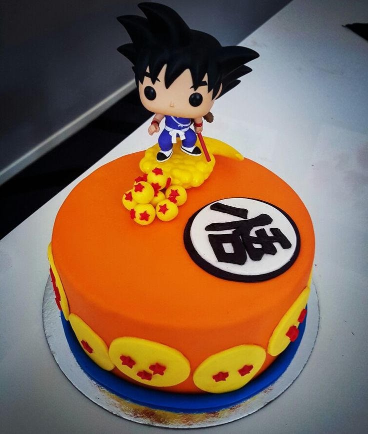 Dragonball cake. Made with vanilla and Oreo layers and filled with delicious Nutella.