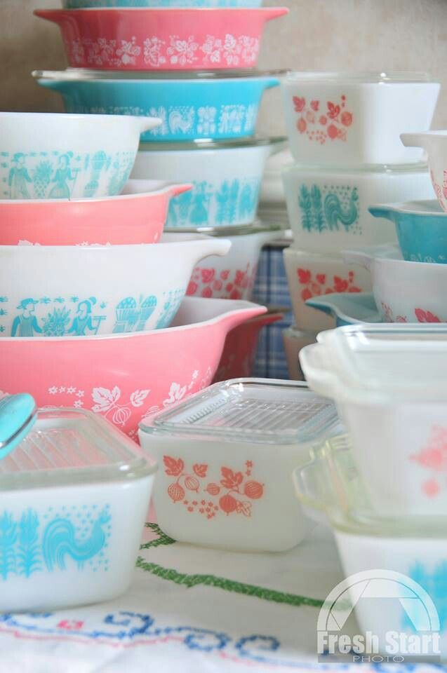 beautiful collection of turquoise & pink vintage Pyrex...love this