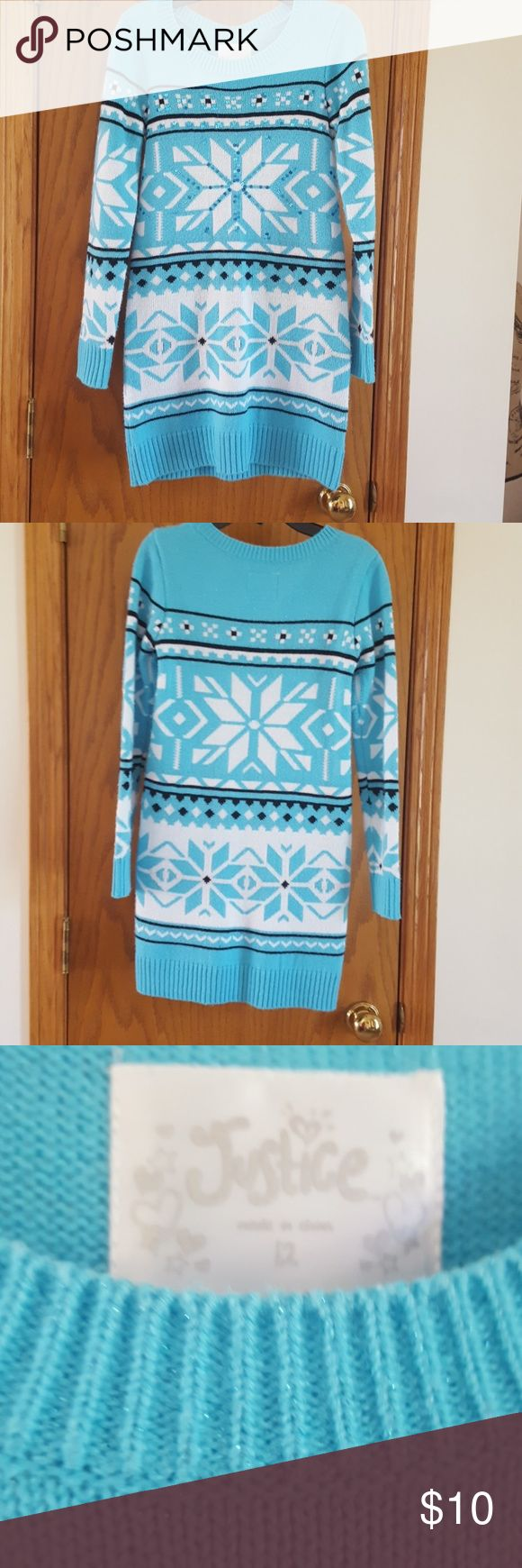 SWEATER DRESS BY JUSTICE Cute, pop-over sweater dress.  Girls size 12.  Justice brand.  Sparkles with sequins.  Ice blue and white snowflake pattern.  Excellent condition. Justice Dresses Casual