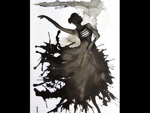 """Bailarina"" en Tinta China sobre papel, India Ink on paper dancing girl - YouTube"