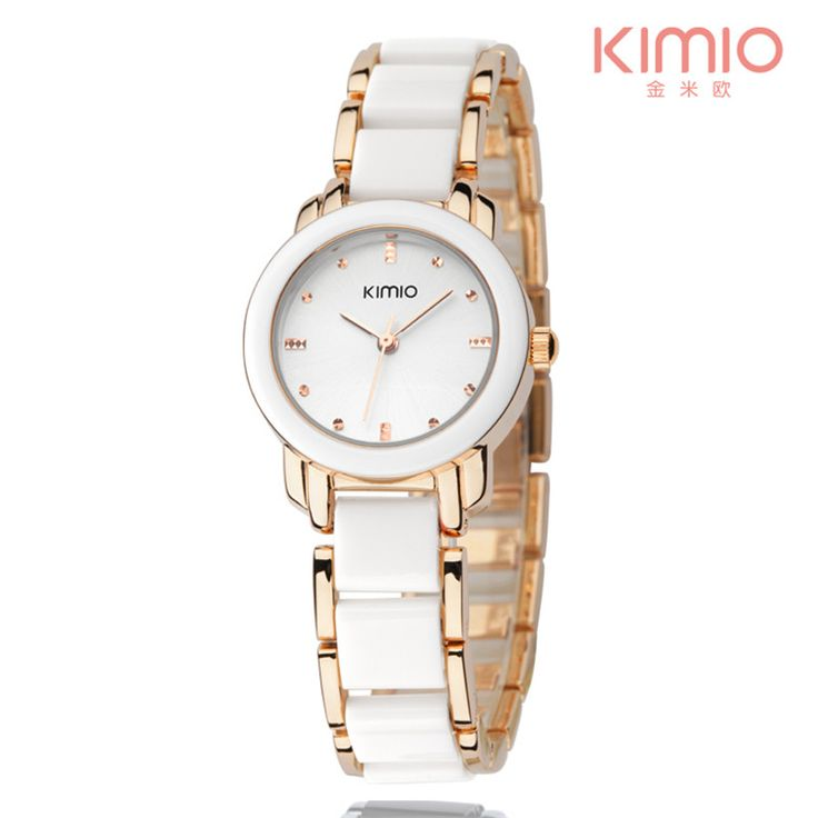 Rose Gold Watch Kimio Retro Student Woman Watch and a half Ceramic Watch Quartz Bracelet Watch the Trend of Fashion Ladies Watch