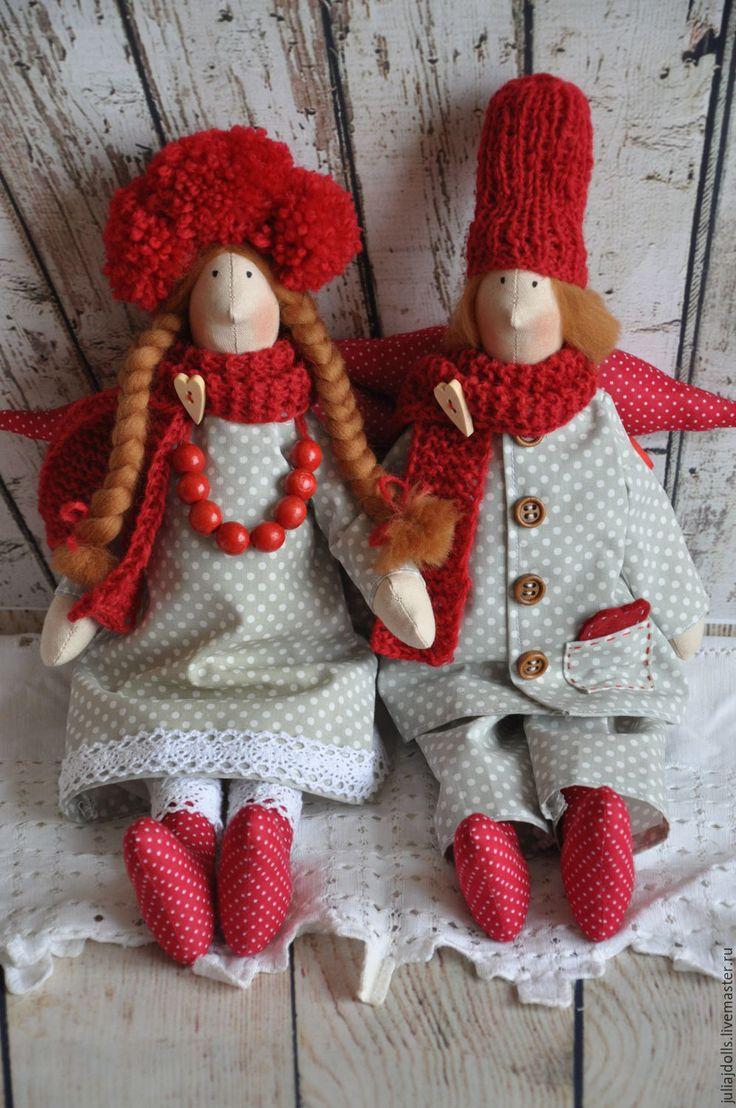 Купить Андерс и Астрид - сплюшки, домашние ангелы - комбинированный, тильда, тильда кукла, тильда ангел