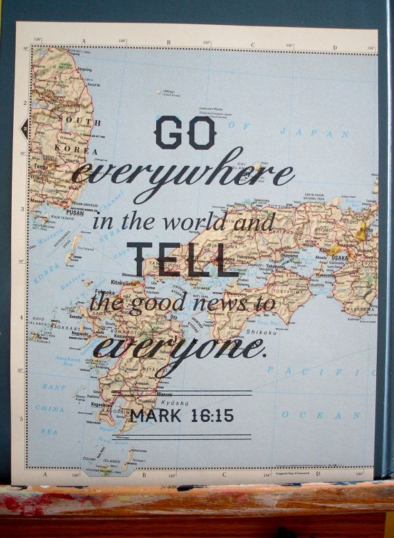 Large map quote print, travel inspired, Bible verse, Mark