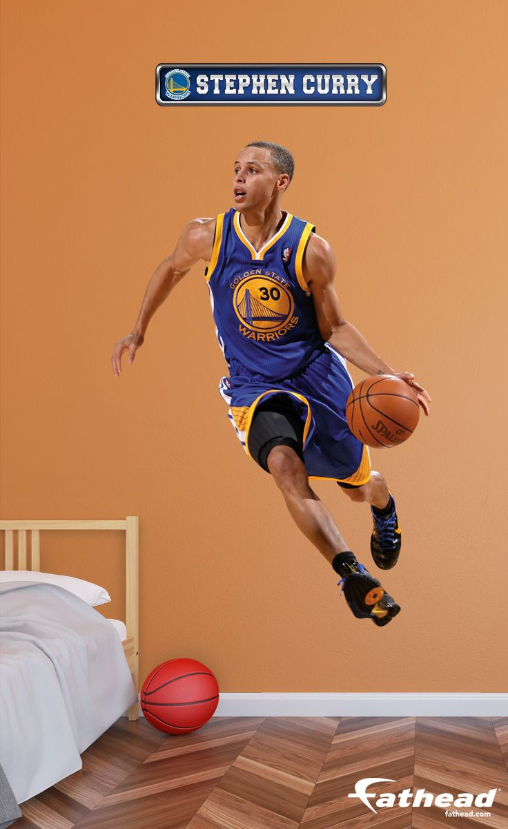 NBA | Basketball Teams + Players | Fathead wall decals are life-size action images that you stick on any smooth surface. You can move them and reuse them and they are safe for walls. SHOP http://www.fathead.com/nba/golden-state-warriors/stephen-curry/?cm_mmc=social-_-pinterest-_-goldenstate-_-stephcurry | DIY Bedroom Decor for Boys + Girls | Custom Decals | Peel & Stick | Man Cave | Home Decor