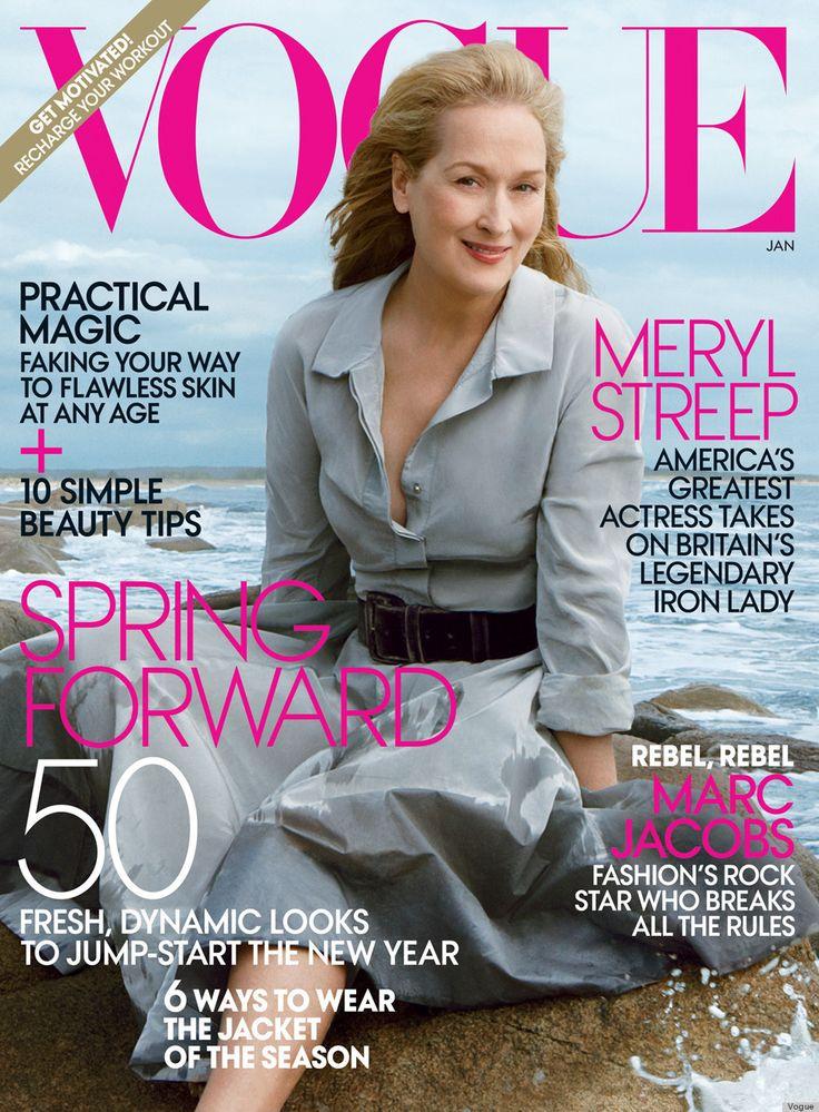 Мерил Стрип за январь Vogue является старейшим Mag Девушка с обложки (ФОТО)