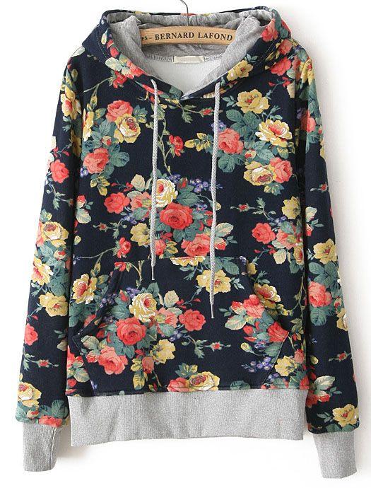 Navy Hooded Long Sleeve Floral Loose Sweatshirt - Sheinside.com