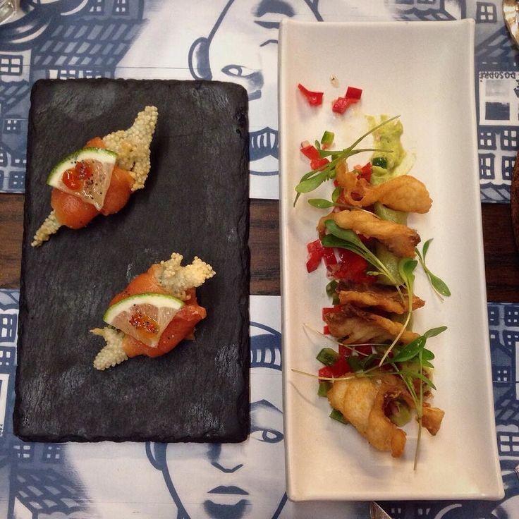 "Another one of our dives to try out @seame.peixariamoderna  kept us on track with our self-imposed fish only diet!  . Pictured: Salmão curado (cured salmon) tempura de salicornia com pipoca de arroz & Nachos de peixe (fish nachos) salada de abacate e ""pico di gallo"" . . . . . #hausofnomads #restaurant #fish #seame #peixaria #art #eat #wanderlust #foodie #europeanlife #instagood #instadaily #lifestyle #passionpassport #travel #iamatraveler #portuguesedesign #design #instadesign #azulejos…"