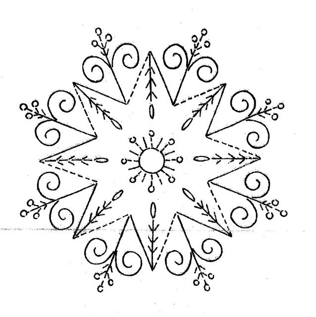 nice combination of simple geometric with swirl and floral with dots that are repeated on outside flowers