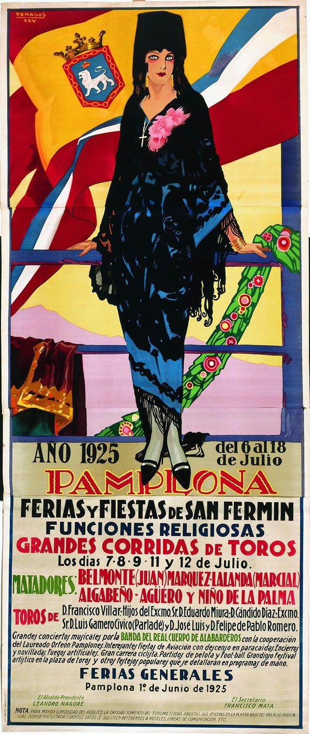 Cartel de los Sanfermines de 1925 - Fiestas y ferias de San Fermín, Pamplona :: Autor: Rafael Penagos #Pamplona