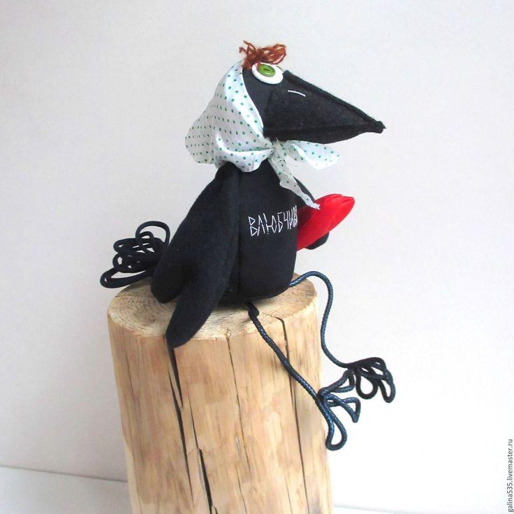 Купить Ворона влюбчивая. Жизнь ворон. - влюбленная ворона, мягкая игрушка ворона, ворона подарок