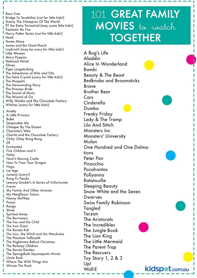 Printable checklist of great family movies to watch together.