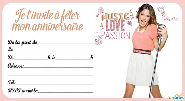 Invitation anniversaire violetta passion and love 123 - Carte violetta a imprimer ...
