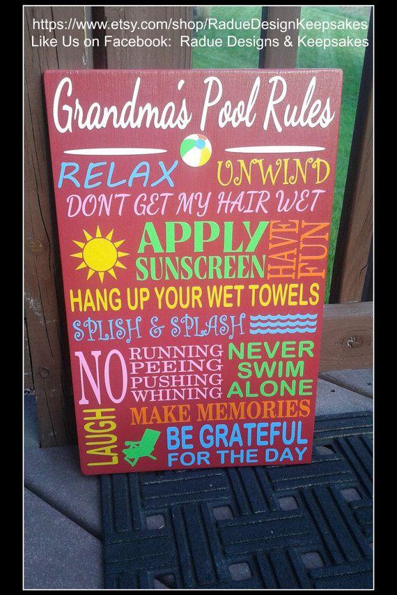 Pool Rules Sign  Personalized  Custom  Sun by RadueDesignKeepsakes