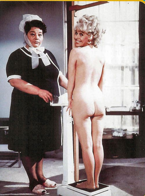 'Matron' (Hattie Jacques) & 'Goldie Locks' (Barbara Windsor) get to the bottom of things in 'Carry On Again Doctor' 1969