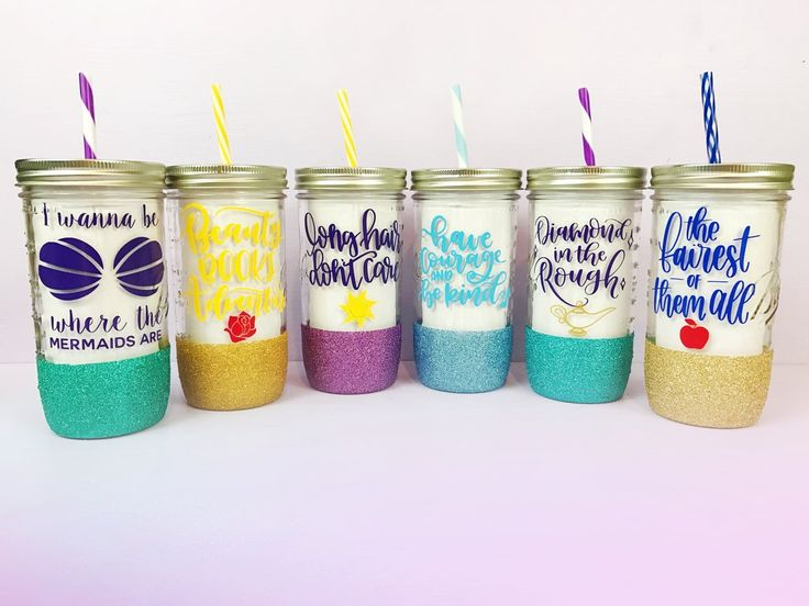 4 Princess Mason Jar Tumblers of Your Choice /// Disney Inspired /// Glitter Tumblers /// Mason Jars