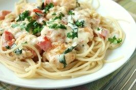 Cheesecake Factory Shrimp Scampi- I would serve over zucchini noodles and use almond flour to make this low carb