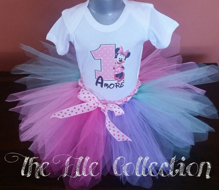 Minnie mouse pastel multicoloured tutu skirt and matching personalized shirt custom made by the Elle Collection in South Africa.  To order email Karin on theellecollection13@gmail.com