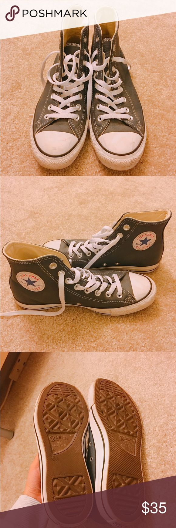 Converse High Top All Star Leather Women size 8.5. Like new condition - only wore once. Leather. Converse Shoes Sneakers