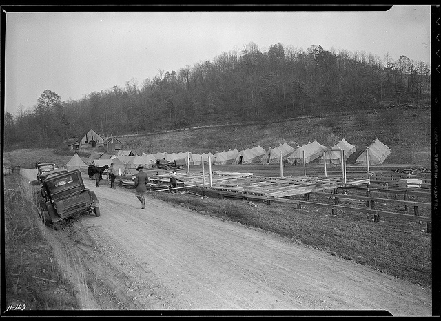 General view of CCC Camp, TVA #19, located between the Clinch and Powell Rivers, near New Tazewell, Tennessee, November 1933 by The U.S. National Archives