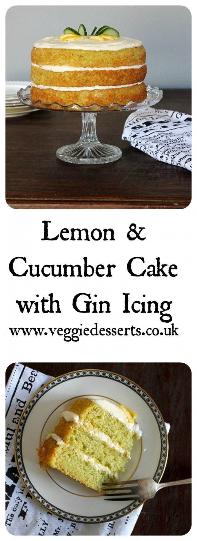 Lemon and Cucumber Cake with Gin Icing | Veggie Desserts Blog by Kate Hackworthy  This delicate green cucumber cake tastes like a lemon sponge with a subtle, refreshing flavour from the cucumber. It's a summery cake and I've topped it with a gin icing. Th