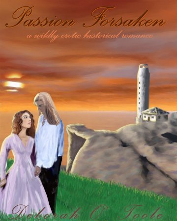 """""""Passion Forsaken"""" has a long and varied book cover history. The second cover was a professional rendering undertaken by my first publisher Tyborne Hill in 2003. http://deborahotoole.tripod.com/IrishEyes/070912.htm"""