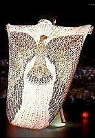 The original cape that went with the jumpsuit worn on the Aloha Special but was to heavy and long, Elvis trip on it walking up the steps so they made another one which he throws in the audience and is now on display with this one as well