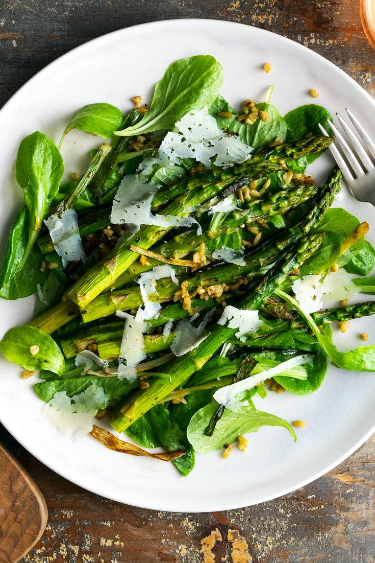 In this hearty, many-textured salad, soft, roasted asparagus is tossed with chewy whole grains and crisp, sweet caramelized scallions You can use freekeh or farro here for the grains Both are whole-wheat kernels, but the freekeh has a slightly smoky note from being toasted, while the farro is nuttier-tasting