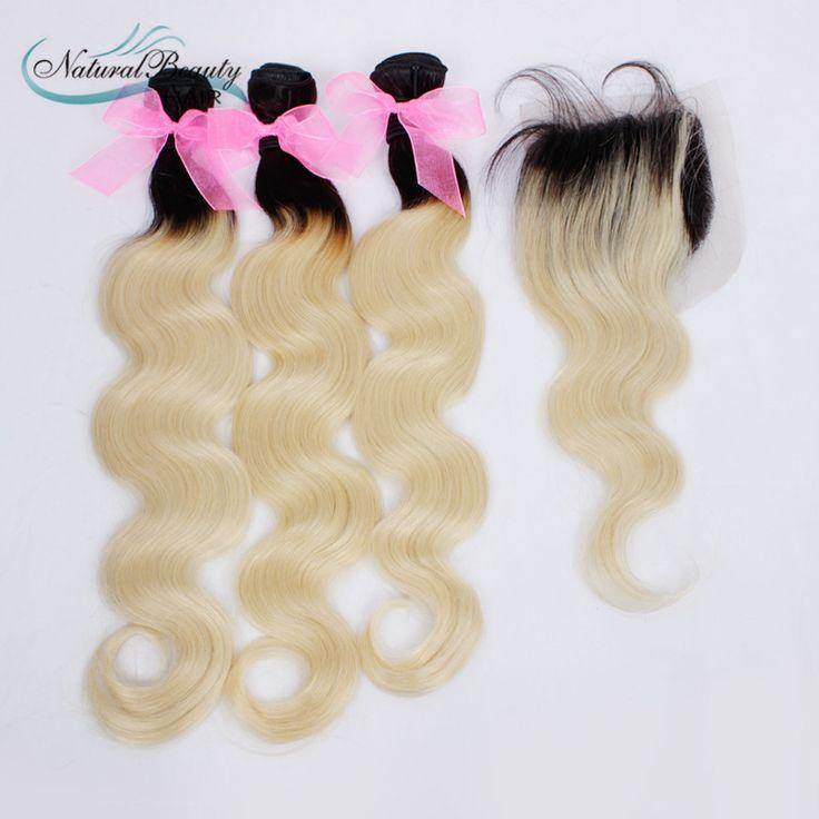 Ombre virgin ciało fala włosów 613 tkactwo wątek przedłużania włosów two tone 613 ciemne korzenie ombre włosy wyplata, t1b/613 ombre włosów