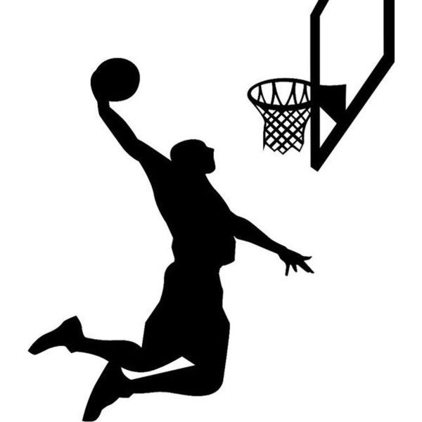 """Basketball Player Silhouette Wall Decal Vinyl Wall Art 48"""" x 30"""" ❤ liked on Polyvore featuring home, home decor, wall art, basketball silhouette wall decals, basketball wall art, silhouette wall art, basketball wall decals and vinyl home decor"""
