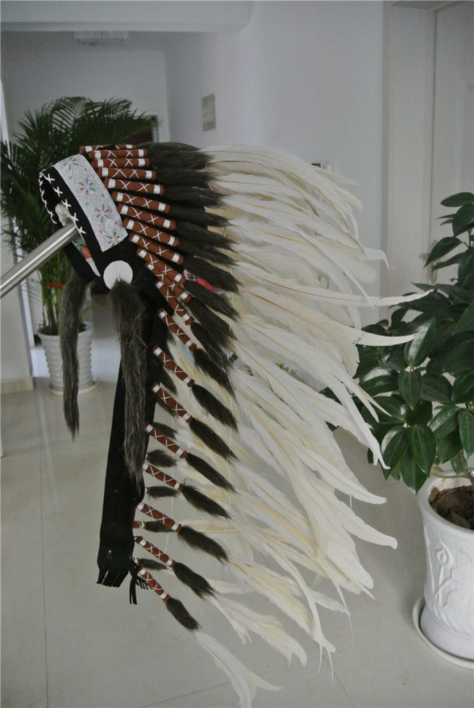 36 inch Off White Feather Headdress //Price: $143.50 & FREE Shipping //     #trance