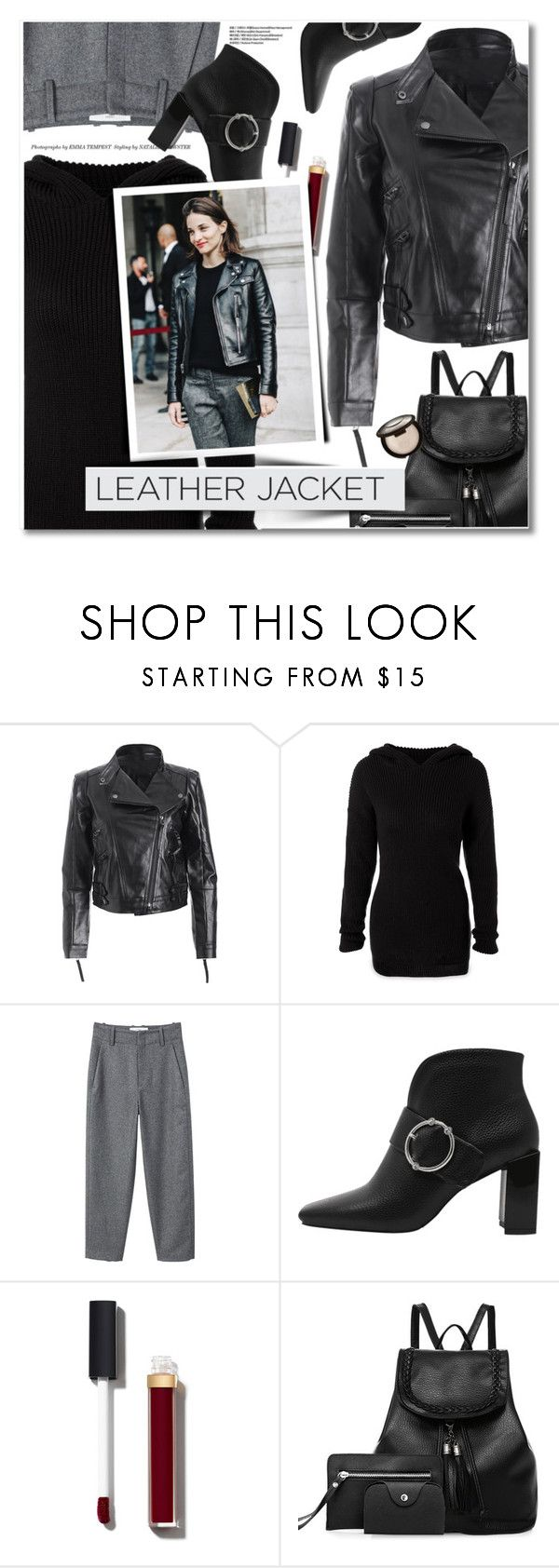 """""""Cool-Girl Style: Leather Jackets"""" by svijetlana ❤ liked on Polyvore featuring MANGO and Chanel"""
