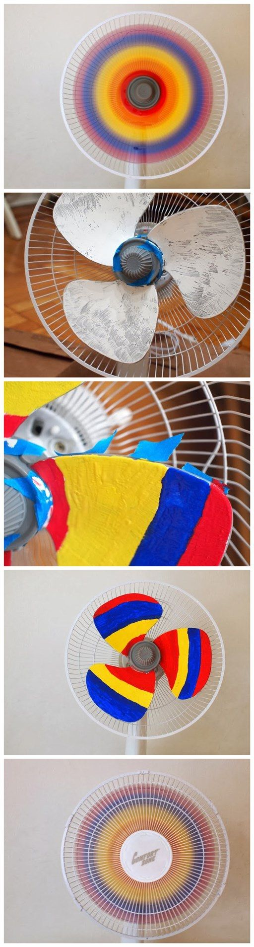 DIY Rainbow Fan, but with colored duct tape, being mindful of the blades spin direction when applying...