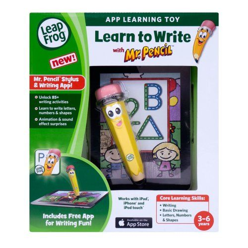 LeapFrog Learn to Write with Mr. Pencil Stylus & Writing App (works with iPhone 4/4s/5, iPod touch 4G & iPad) http://www.findcheapwireless.com/leapfrog-learn-to-write-with-mr-pencil-stylus-writing-app-works-with-iphone-44s5-ipod-touch-4g-ipad/
