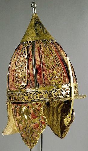 Ottoman type chichak helmet,  end of 17th century, steel, copper, leather, velvet and silk. Stibbert Museum.