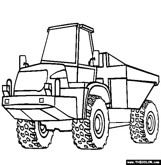 Articulated Dump Truck Coloring Page | Free Articulated Dump Truck Online Coloring