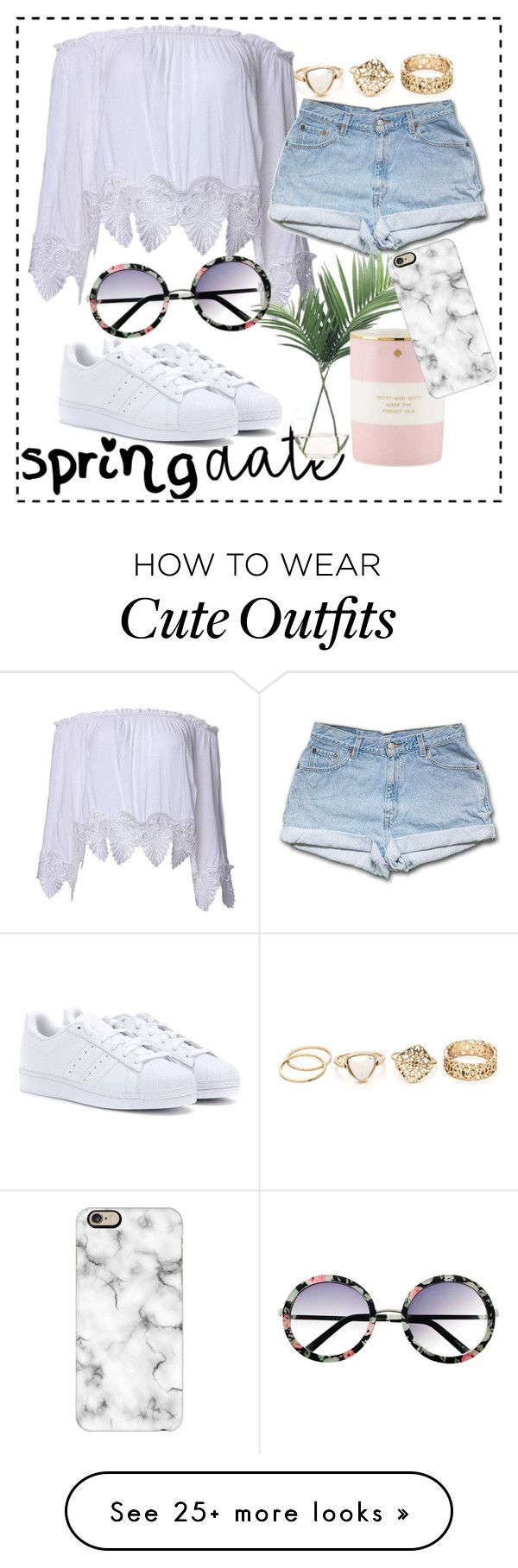 """""""spring date outfit guide"""" by ginamariev on Polyvore featuring NDI, Kate Spade, Casetify, adidas and INDIE HAIR"""