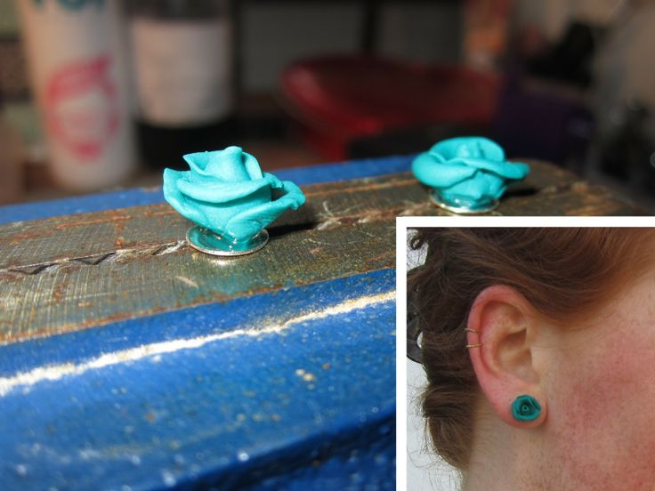 Poly clay rose earrings | Leth.it.be.
