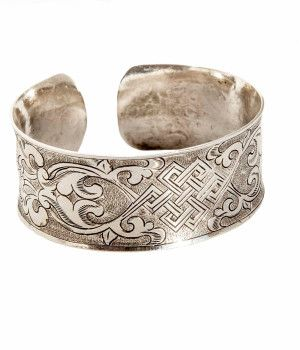 Sterling Silver Cuff Bracelet with Tibetan Knot of Interconnectedness Motif