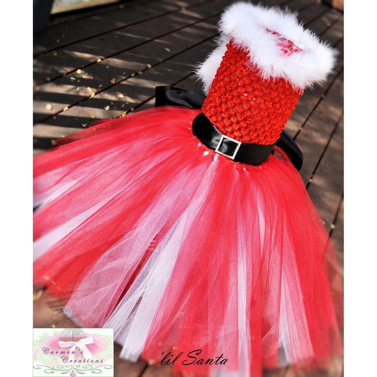 #pinadayoct #tulle $35.00 Age 0 to 2 Lil Santa Tutu Dress by carmenscreations on Handmade Australia