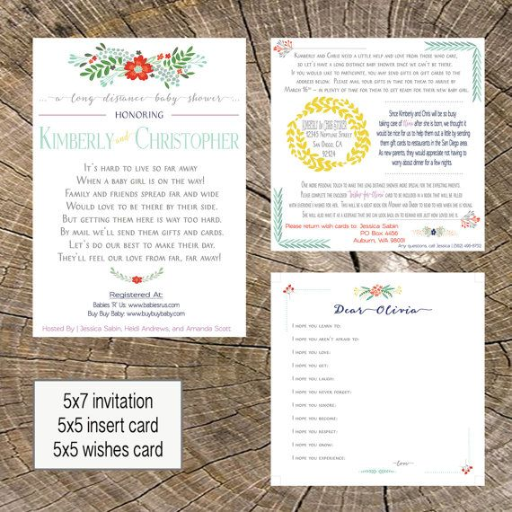 Long Distance Baby Shower 5x7 Invitation 5x5 Insert, and 5x5 Wishes Card | Shower by Mail | Military Shower | Girl | Florals | Baby Shower | Across the Miles