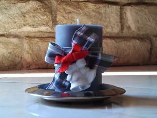 twinkle love... grey scented candle with a scottish tissue ribbon with bell shaped chalk