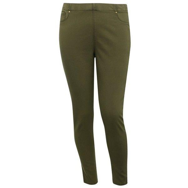 M&Co Plus Denim Jeggings ($27) ❤ liked on Polyvore featuring pants, leggings, khaki, plus size, jean leggings, plus size jeggings, women's plus size pants, pull on denim leggings and khaki pants