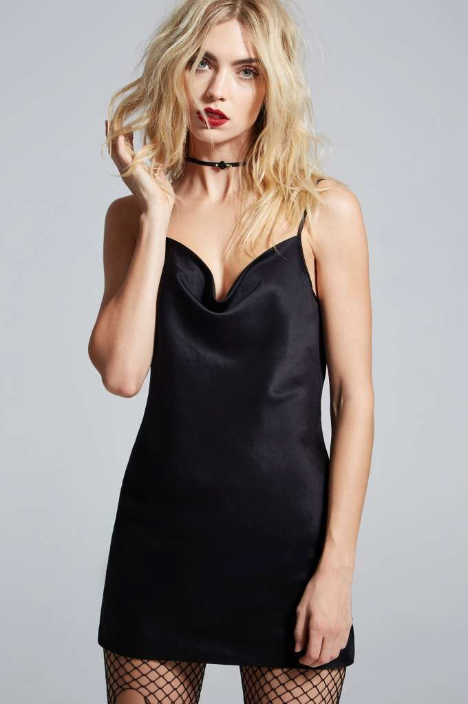 Love, Courtney by Nasty Gal Malibu Satin Slip Dress - Black - Clothes | Valentine's Day | Nasty Gal X Courtney Love | Valentine's Day | Rules To Slip By | LBD | Sleep | Dresses | Lingerie