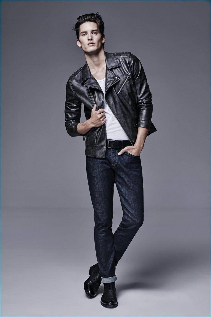 jaqueta de couro com calças de brim escuras lavagem denim de River Island