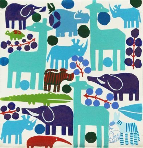 ティンガティンガ・アート 4912「北欧テキスタイルのような動物たち~ホワイト」 by ズベリ Sサイズ - アフリカフェ@バラカのセレクトショップ~アフリカ雑貨・アフリカ布・タンザニアコーヒー紅茶スパイス・ティンガティンガアート~